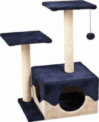 فلامينغو خداشة قطط من الخشب لون ازرق / بيج 44 × 33 × 70 سم